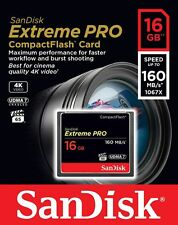 SanDisk Extreme PRO 16GB 4K 160MB/S UDMA 7 1067X COMPACT I FLASH CF Memory Card