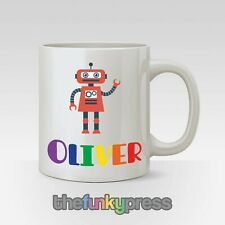 Personalised Robot Mug Tea Coffee Gift Birthday Cute Rainbow Add Any Name