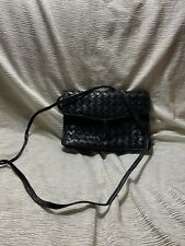 BOTTEGA VENETA Vintage Authentic Black Woven Leather Clutch Crossbody