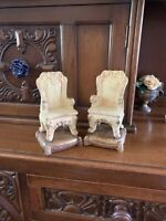 Beautiful Old Plaster Chalk Bookends Victorian Chair Gold Tassels Excellent