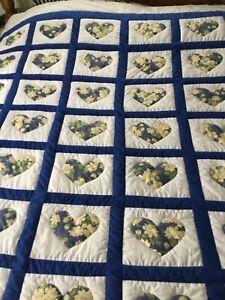 Handmade Blue Heart Quilt