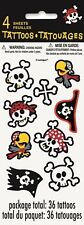 Pirate Birthday Boy Party 36x Temporary Tattoos Skull Favours Game Treat Prize