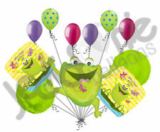 11 pc Happy Jumping Frog Birthday Balloon Bouquet Decoration Amphibian Swamp Bug