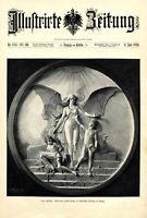 Das Schicksal XL Kunstdruck 1896 Joseph Magr weiblicher Akt Engel Kinder Ketten