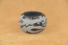 Small double etched Santa Clara Serpent pot by Matthew Tafoya