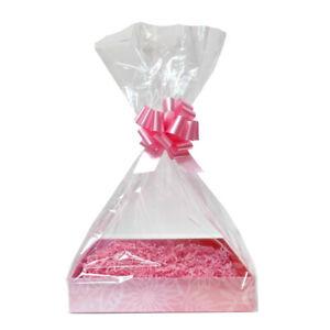 Make Your Own Gift Basket Hamper DIY Kit - Pink Tray, Shred, Bag, Bow & Gift Tag