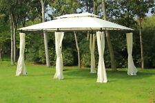 Outsunny 13' x 10' Outdoor 2-Tier Steel Frame Gazebo with Curtains - Black/Cream