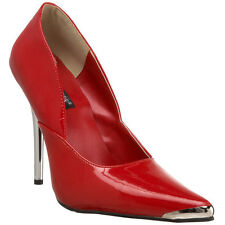 Womens Classic Patent Chrome Spike Metal Stiletto Red Heels