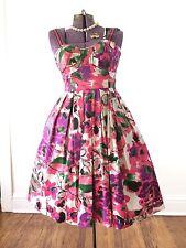 Vintage pink 1950s 50s dress floral pinup costume retro large size 10 rockabilly