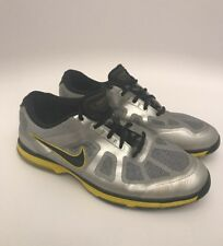 MENS NIKE GOLF HYPERFUSE LUNARLON CLEATS/SPIKES- SILVER/Yellow/BLACK SIZE 10.5