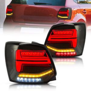 Smoked LED Tail Lights For 2011-17 Volkswagen Polo MK5 6R 6C TSI With Sequential