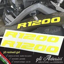 2 Adesivi Serbatoio Moto BMW R 1200 gs adventure LC 280 x 30 mm 3D GIALLO