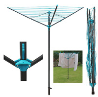 30m 3 Arm Outdoor Clothes Rotary Airer Washing Line Dryer Ground Socket Foldable
