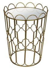 Moroccan Style Gold Metal Cage Mirrored Glass Side Occasional Coffee Table NEW