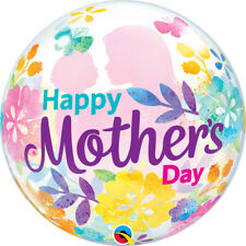 """MOTHER'S DAY PARTY SUPPLIES 22"""" MUM SILHOUETTE SEE THRU BUBBLE QUALATEX BALLOON"""