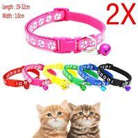2X Cute Small Footprint With Bell Pet Collar Nylon Fabric Cat Kitten Dog Puppy!