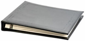 Black Faux Leather Photo Album with Self Adhesive White Sheets, Max. 8x10 Prints