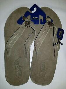 New Polo Ralph Lauren Men's Big Pony Leather Flip-Flop Sandal Great Gift