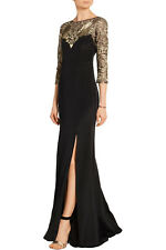 NWT Marchesa Notte Dress Metallic embroidered tulle 8 M L Black Gold $1,338