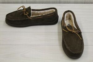 Minnetonka Pile Lined Hardsole Slippers, Men's Size 12 W, Brown MSRP $49.95