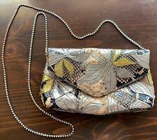 Dries Van Noten Snake Skin Leather Clutch Bag w/ Swarovski Crystal Chain