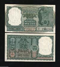 INDIA 5 RUPEES P36 1962 DEER TIGER PCB UNC WILD ANIMAL WORLD MONEY BILL BANKNOTE