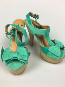 r- SHOES WOMENS SZ 6 Green Strappy Open Toe Spike Heel Sandal Bow Accent