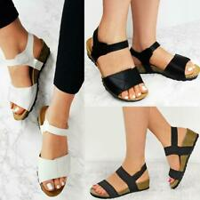 Womens Ladies Low Wedge Heel Sandals Wide Fit Elastic Stretch Cushioned Comfort
