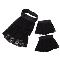 Medieval Black Lace Ruffle Jabot  Detachable Collar Wirst Cuff Set Victorian