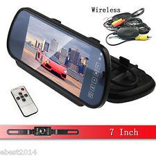 "7"" LCD Screen Car Rear View Backup Mirror Monitor+Wireless Reverse IR Camera Kit"