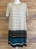 White House Black Market Short Sleeve Shirt Size Large Womens Striped Casual