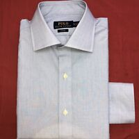 Ralph Lauren Mens Shirt Dress Long Sleeve Slim Fit Blue White 16.5""