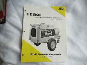 1956 Le Roi 105 GI airmaster compressor specification sheet brochure