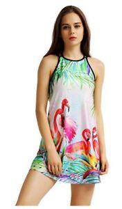 UK Bikini Cover Up Back Cross Strappy 3D Beach Holiday Sundress Flamingos  S/M