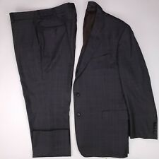 Brooks Brothers 46R Suit Saxxon Gray Glen Plaid Flat Front Check Checked Regent