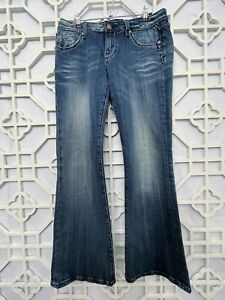 Rerock for Express Women's Size 6S Bootcut Embroidered Fade Blue Jeans