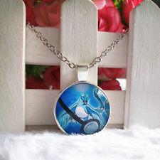 Articuno Legendary Pokemon Pendant Tibet silver Cabochon Glass Chain Necklace