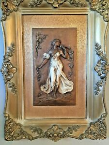 Vintage Two Beautiful Rare Relief Wooden Sculpture Statue Sexy Woman & Frame.