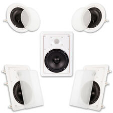 "Acoustic Audio HT65 In Wall  In Ceiling 6.5"" Home Theater Surround 5 Speaker Set"