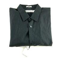 Calvin Klein New Mens Black Vertical Striped Long Sleeve Button Front Shirt Sz M