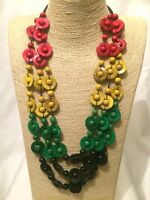 STATEMENT Long Large MULTI COLOURED Multi Strand BEADED Chunky Wood Necklace