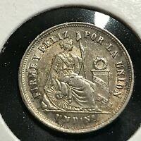 1870/60 PERU SILVER ONE DINERO HIGH GRADE COIN