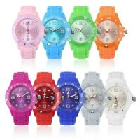 Classic Stylish Silicon Jelly Strap Unisex Women Lady Wrist Watch Colorful UF