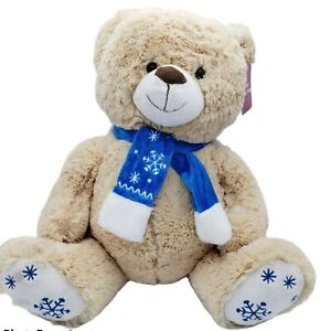 Dandee collectors choice Large Teddy Bear With Blue Scarf Winter Plush Christmas
