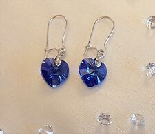 Swarovski Elements Something Blue Crystal Heart Dangle Bridal Wedding Earrings
