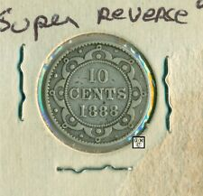 1888 New Foundland 10 cents Coin ; VG 8 ; Super Reverse