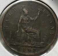 1862 Great Britain Queen Victoria 1/2 Penn Coin, VF/XF Condition