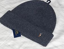 POLO RALPH LAUREN Merino Wool Beanie Skull Ski Cap Hat, Pony, CHARCOAL GRAY GREY