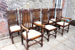 8  Very Rare Crown Top Barley Twist Carved Vintage Solid Oak Farmhouse Chairs