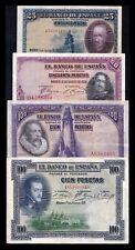 B-D-M España lote 4 billetes República 25 50 100 100 Pesetas 1925-1928 MBC- aVF